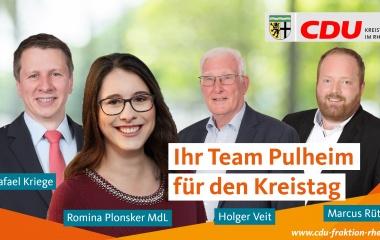 v.l. Rafael Kriege, Romina Plonsker MdL, Holger Veit und Marcus Rüttgers